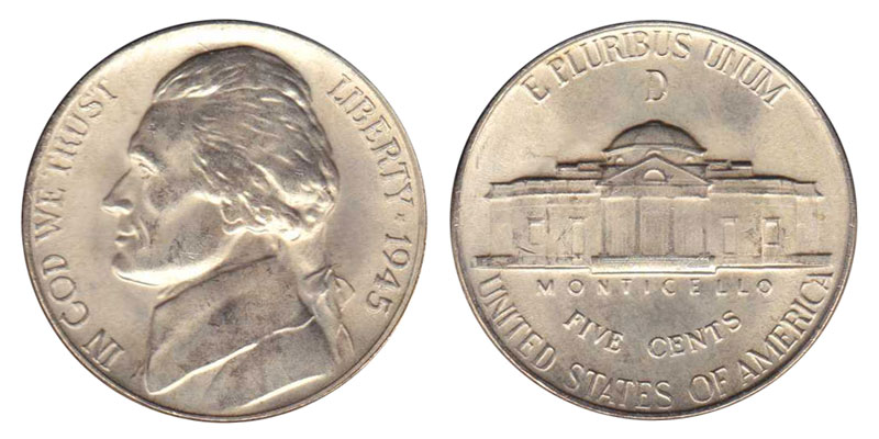 1945 D 5c Jefferson Wartime Silver Nickel US Coin Average Circulated