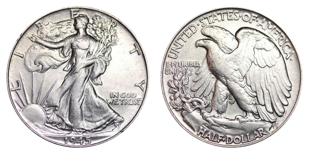 1945 walking liberty half dollars value and prices
