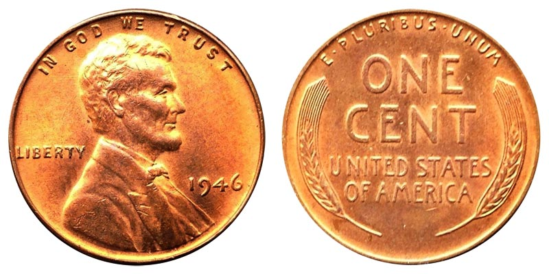 1946 lincoln wheat cent bronze composite penny value and prices. Black Bedroom Furniture Sets. Home Design Ideas