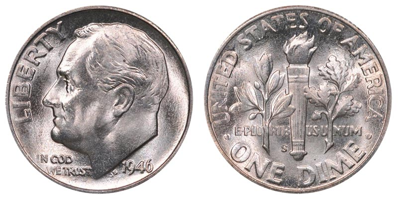 1946 S Roosevelt Dimes Silver Composition Value And Prices