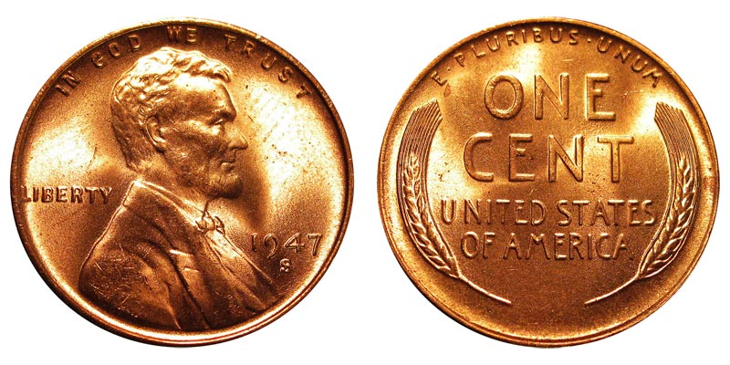 S RED LINCOLN WHEAT CENT BU FROM OBW 1947