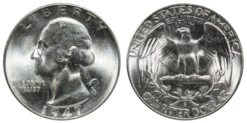 b 1947 Washington GEM  BU beautiful luster white nice coin