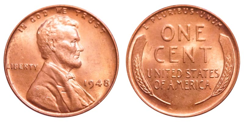 1948P Lincoln Cent Roll 50 coins Wheat