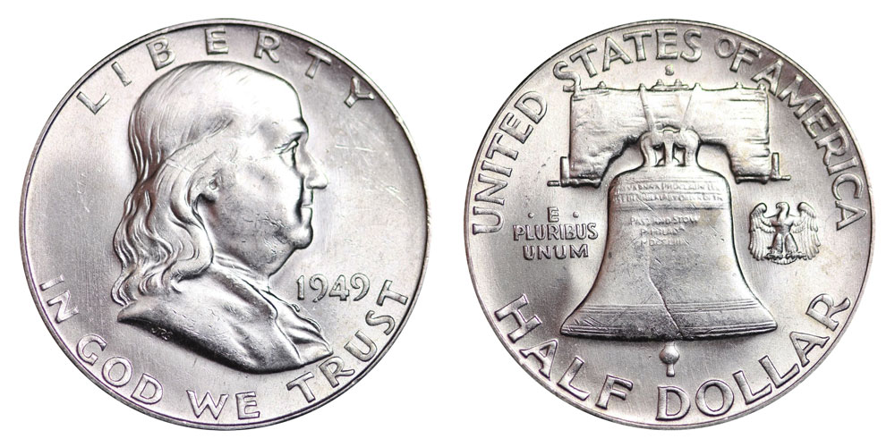 1949-S 50c  Franklin Silver Half Dollar Coin Good condition.