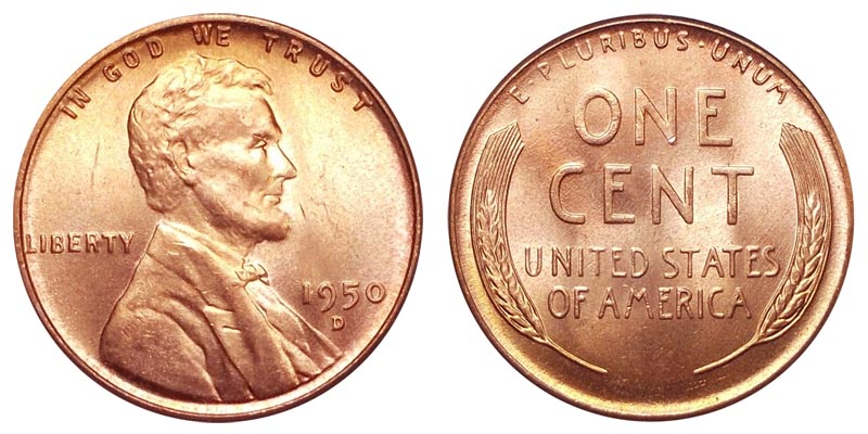 1950-D Lincoln Wheat Cent Penny Beautiful Red Choice Nice From OBW Roll B U