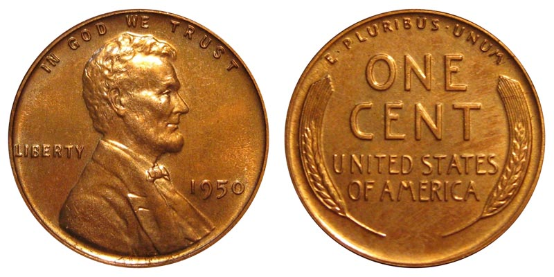 1950 Lincoln Wheat Cent Bronze Composite Penny Value And