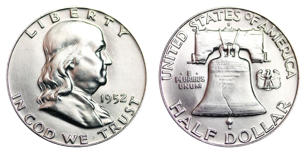 1952-S 50c Franklin Silver Half Dollar AU About Uncirculated