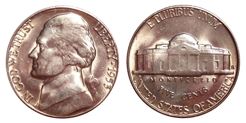 1953 5c Jefferson Nickel US Coin BU Uncirculated Mint State