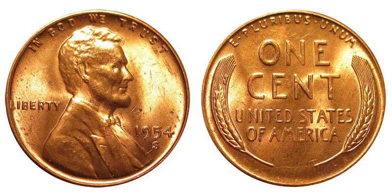 1954 S Lincoln Wheat Penny Coin Value Prices Photos Amp Info