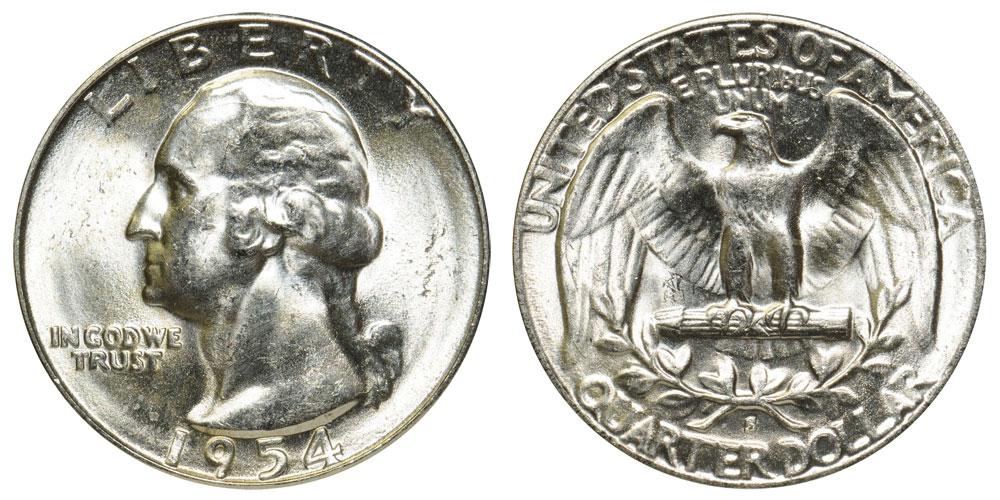 Brilliant Uncirculated 1954-S Washington Quarter Coin BU 90/% Silver US Lot