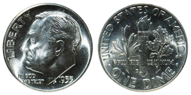 FT* //// 90/% Silver 1955-D Roosevelt Dime //// Gem BU 1 *Full Torch
