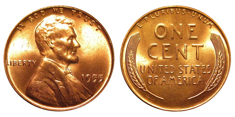 1955 P Lincoln Wheat Penny 10/% of 6+