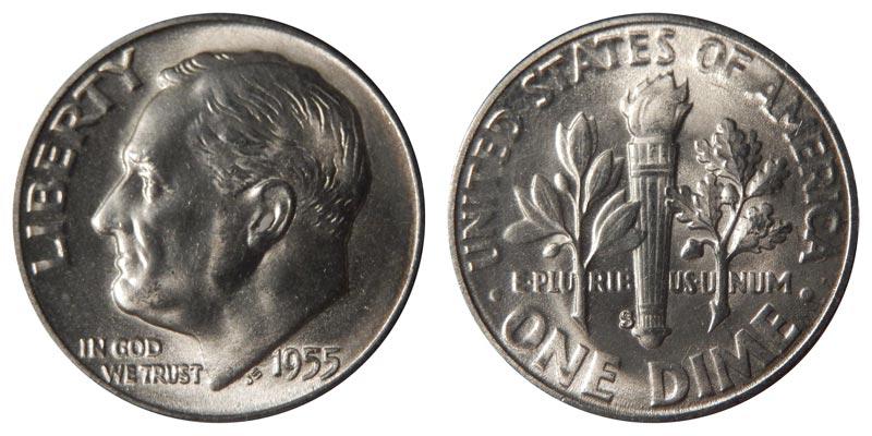 C 10 1955 P//D//S Roosevelt Dimes GEM BU Lustrous Silver