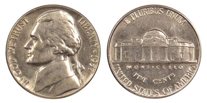 1 COIN FROM ALBUM 1955 P JEFFERSON NICKEL AU//UNC BETTER DETAIL