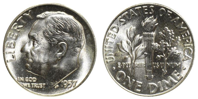 1957 Roosevelt Silver Dime Coin Value Prices Photos Info