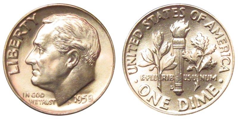 1958 D Roosevelt Silver Dime Coin Value Prices, Photos & Info