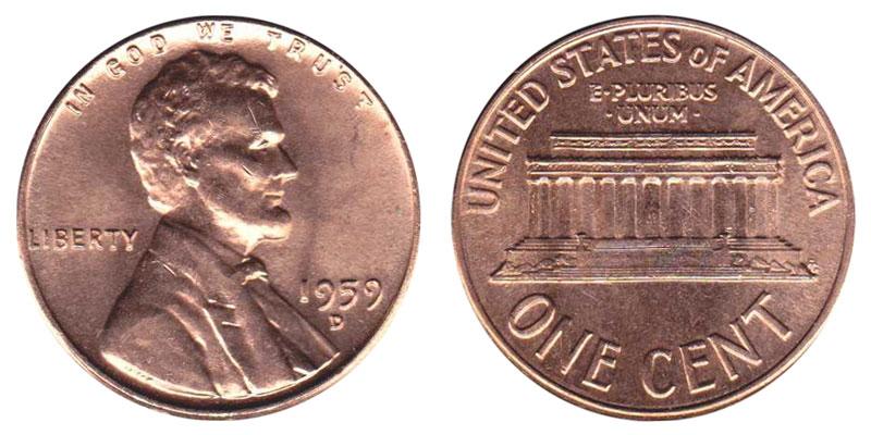 1959 D Lincoln Memorial Penny Coin Value Prices, Photos & Info