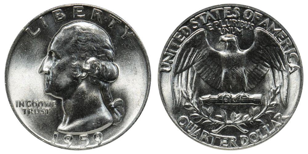*90 /% SILVER*  *FREE SHIPPING* 2 Coins 1959 P /& D Washington Quarter Coin Set