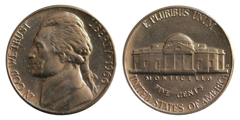 Mint Set 1960 D Jefferson Uncirculated Nickel from Original U.S
