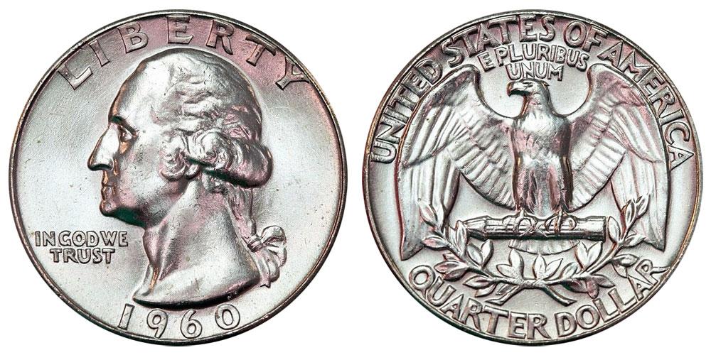 Mint State Condition Washington Quarter 90/% Silver Coin 1960 U.S