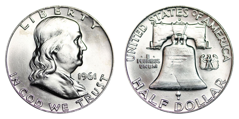 1961 D Franklin Half Dollar Liberty Bell Coin Value Prices