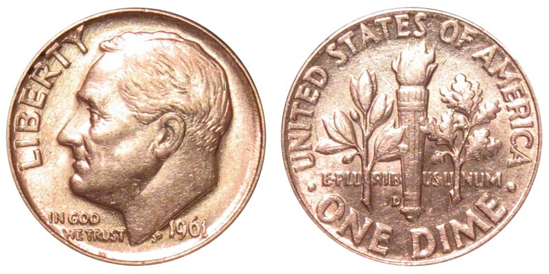 1961 D Roosevelt Silver Dime 90/% Silver Uncirculated Mint State
