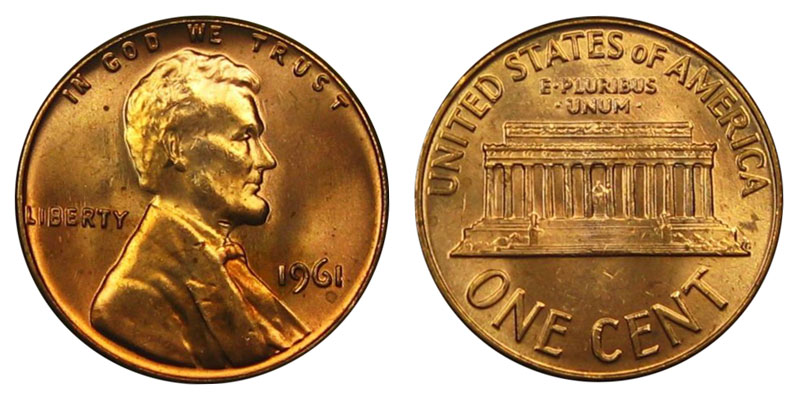 1961 lincoln memorial cent copper alloy penny value and prices 1961 lincoln memorial cent penny publicscrutiny Images