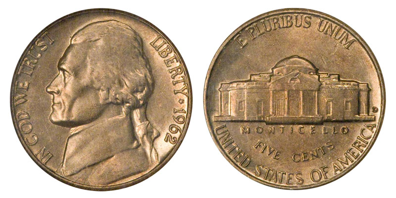 1962 D Jefferson Nickel BU From Mint Roll 15/% off 5+
