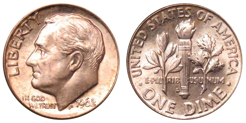 1962 D ROOSEVELT DIME *90/% SILVER*  *AU ABOUT UNCIRCULATED*  **FREE SHIPPING**