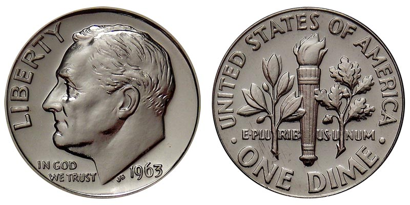 1963 P Roosevelt Dime 90/% Silver Brilliant Uncirculated in mint cellophane