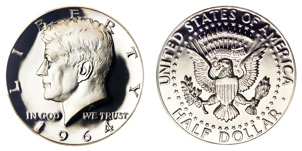 1964 kennedy half dollars heavily accented hair 90 silver