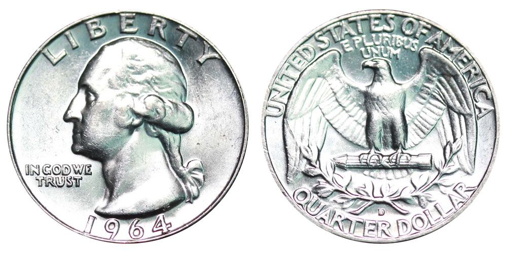 1964 D Washington Silver Quarter Coin Value Prices, Photos & Info