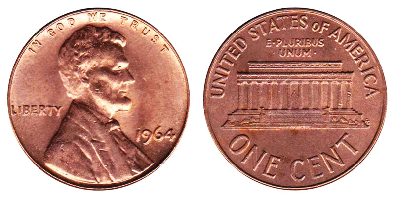 1961 1962 1963 1964 Proof Lincoln Memorial Gem Pennies 4 coins