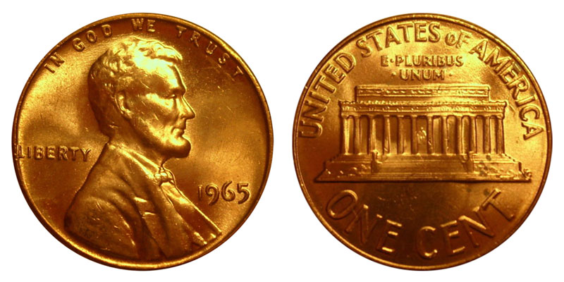 1965 Lincoln Memorial Cent Copper Alloy Penny Value And