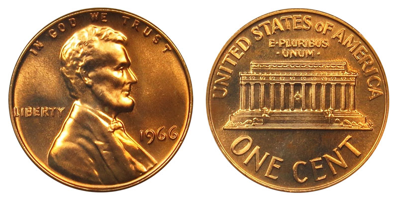 1966 Lincoln Memorial Penny Coin Value Prices, Photos & Info