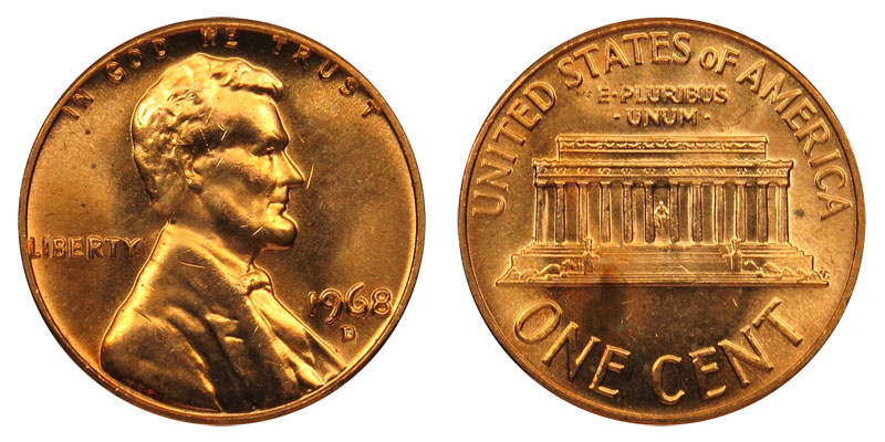 1968 D Lincoln Memorial Cent Penny