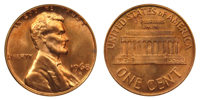 1968 S Lincoln Memorial Cent Copper Alloy Penny Value And