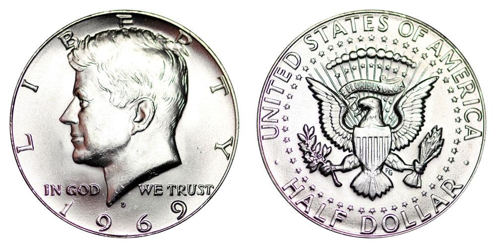 1969 S U.S Proof Set 40/% Silver Kennedy Half Dollar w// box