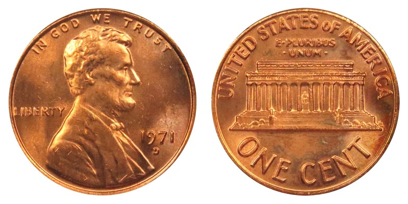 1971 D Lincoln Memorial Cent Copper Alloy Penny Value And