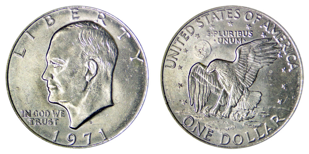 Copper-Nickel Clad  Ike Denver 1$ Eisenhower Dollar Coin 1971-D