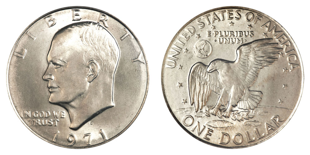 1971 D Eisenhower Dollars Type 2 Common Reverse Clad