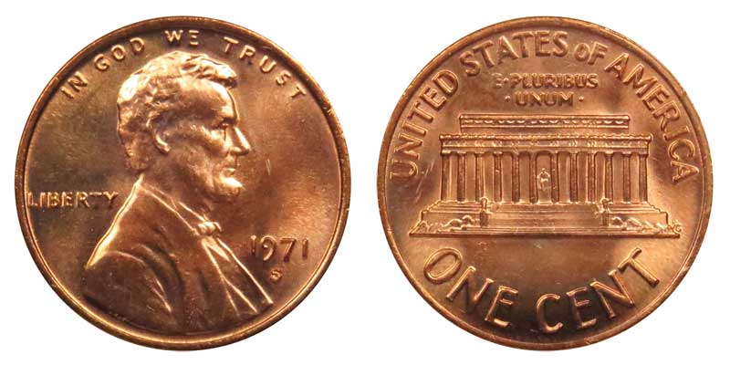 US PROOF LINCOLN CENT,,,,,1971-S,,,,,FROM US PROOF SET ,,,