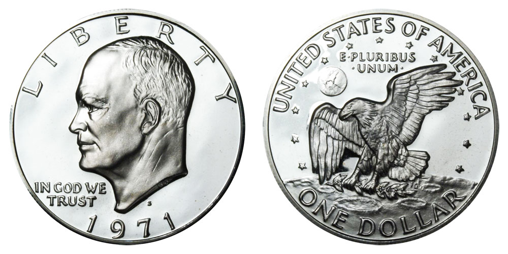 1971 S Eisenhower Dollars Silver Clad Clad Composition