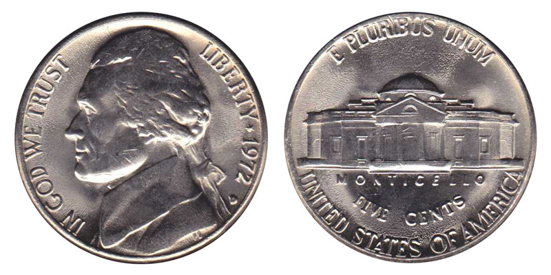 1971 D Jefferson Nickel 5C in Mint Cello Uncirculated BU FIVE CENTS