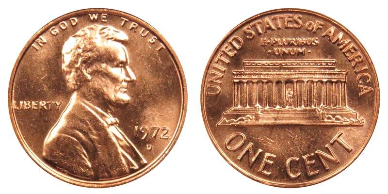 1972 D  Lincoln Memorial Penny in Original Mint Cello
