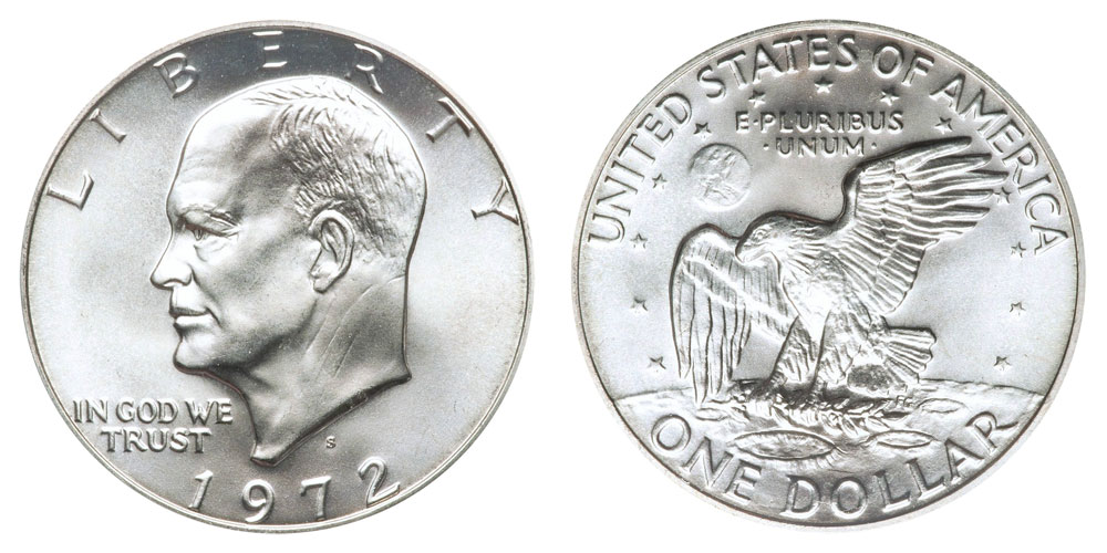 1972 S Eisenhower Dollars Silver Clad Clad Composition