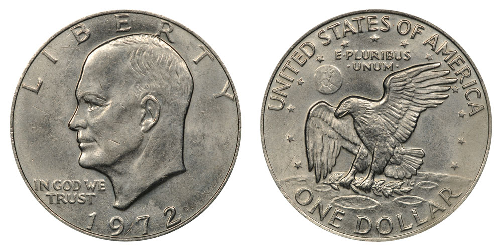 1972 Eisenhower Dollars Type 2 High Relief Reverse