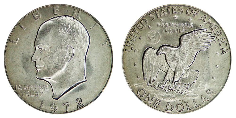 1972 Eisenhower Dollars Type 3 High Relief Reverse