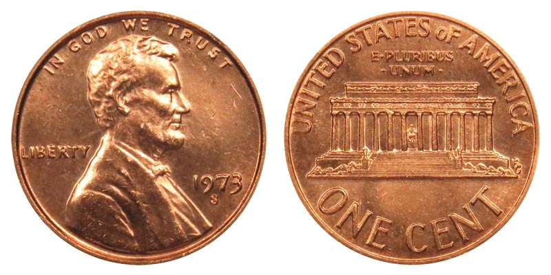 4 COINS 1973 P D S S GEM RED UNCIRCULATED  /& PROOF LINCOLN CENTS