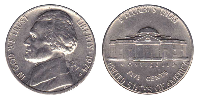 UNCIRCULATED 1974 D US Nickel Silver Coin